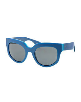 Prada Thick Rounded Sunglasses, Blue Azure