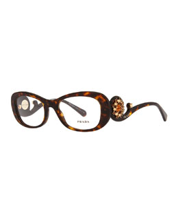 Prada Havana Baroque Fashion Glasses with Crystals