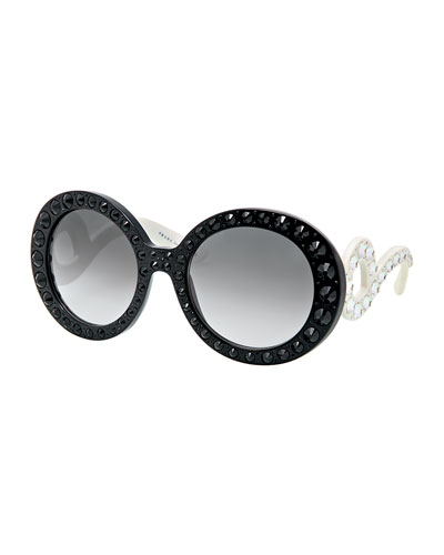 Prada Baroque Crystal Round Sunglasses, Black/White