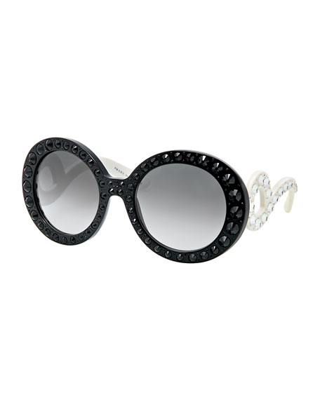 Prada Round Baroque Sunglasses  prada baroque crystal round sunglasses black white