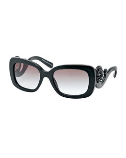 Prada Baroque Rectangle Sunglasses, Black