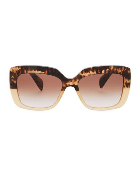 Square-Frame Logo Triangle Sunglasses, Brown/Multi