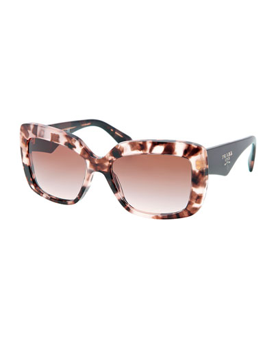 Prada Square-Frame Logo Triangle Sunglasses, Brown/Multi