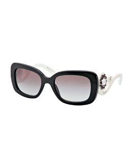 Prada Baroque Rectangle Sunglasses, Black/White