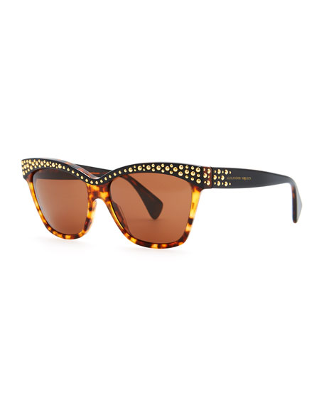 Golden-Studded Havana Sunglasses