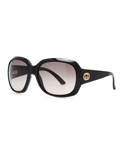 Gucci Crystal Interlocking G Sunglasses, Black