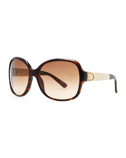 Gucci Leather-Arm Havana Sunglasses