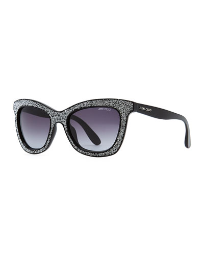 Jimmy Choo Flash Crystal Sunglasses, Black