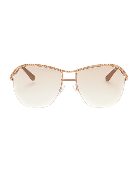 Jess Leather-Trim Sunglasses, Gold/Copper
