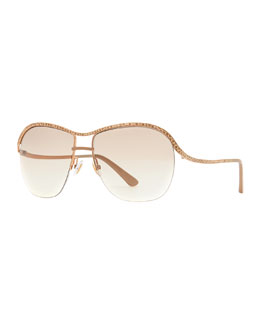 Jimmy Choo Jess Leather-Trim Sunglasses, Gold/Copper