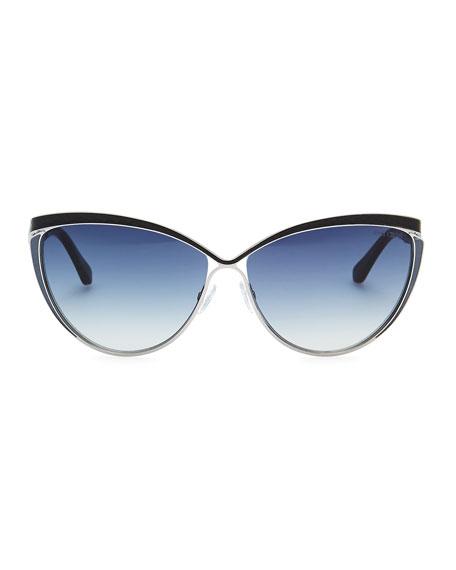 Polly Leather-Trim Cat-Eye Sunglasses, Ruthenium/Blue