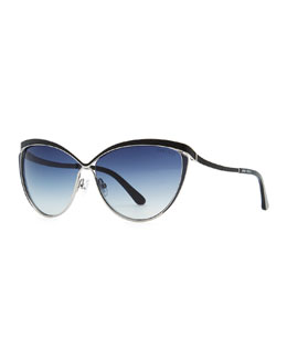 Jimmy Choo Polly Leather-Trim Cat-Eye Sunglasses, Ruthenium/Blue