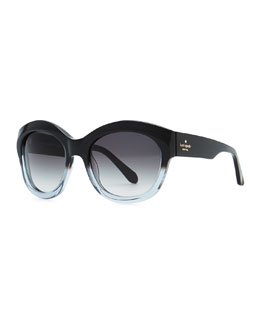 kate spade new york arianna cat-eye polarized sunglasses, black stripe