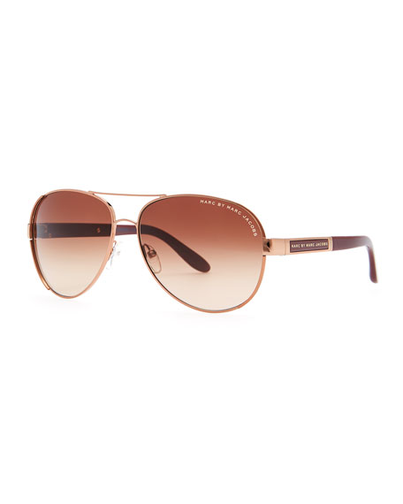 Rose Golden Aviator Sunglasses, Red
