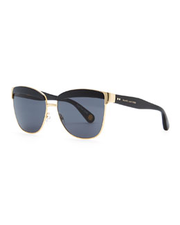 Marc Jacobs Lidded Metal Sunglasses, Gold/Black