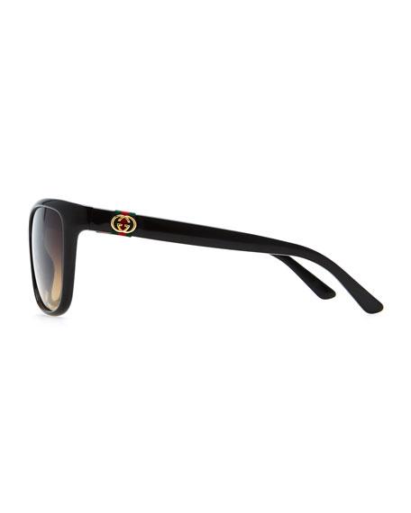Square Gradient Sunglasses, Black