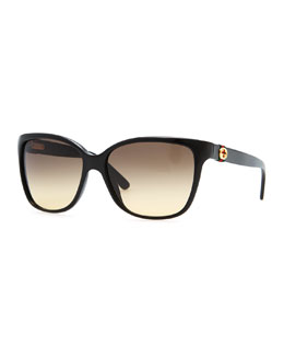 Gucci Square Gradient Sunglasses, Black
