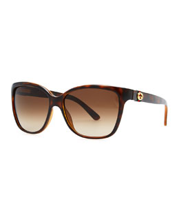 Gucci Square Gradient Sunglasses, Havana