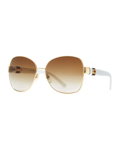 Gucci Metal-Rim Sunglasses, Gold