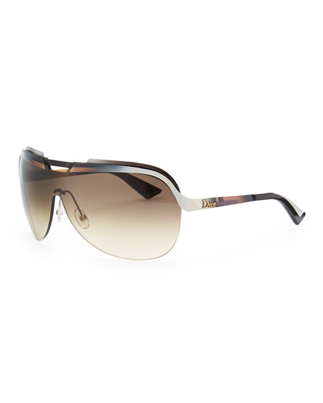 Multicolor-Bar Shield Sunglasses, Burgundy/Orange