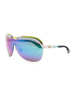 Dior Multicolor-Bar Shield Sunglasses, Pink/Yellow