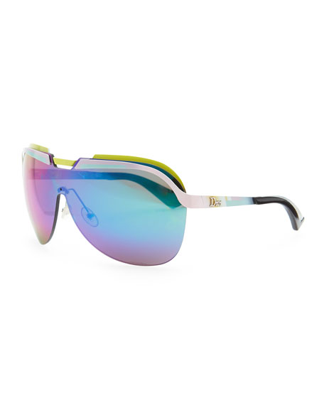 Multicolor-Bar Shield Sunglasses, Pink/Yellow
