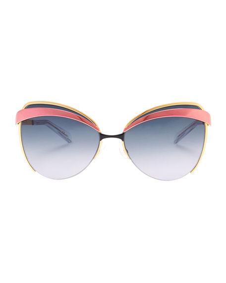 Half-Rim Cat-Eye Sunglasses, Pink