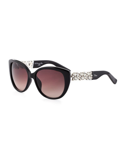 Dior Mystere Crystal-Temple Sunglasses, Black