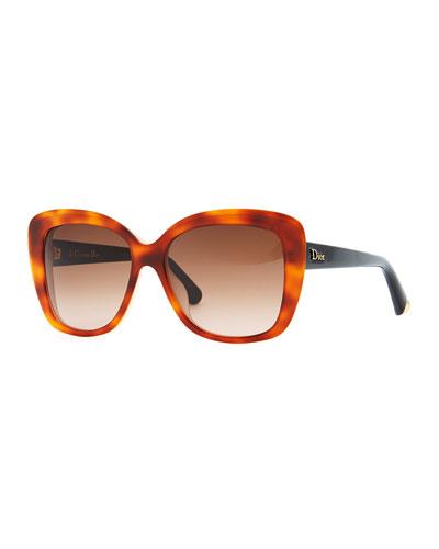 Dior Promesse 2 Square Sunglasses, Havana/Pink