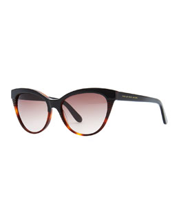 MARC by Marc Jacobs Notched-Frame Cat-Eye Sunglasses, Black/Tortoise