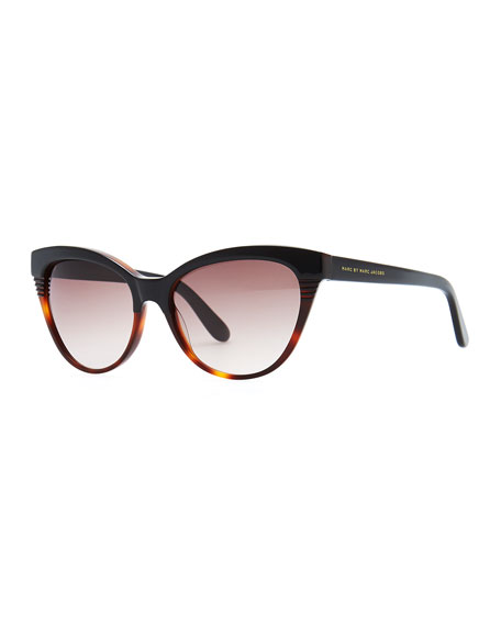 Notched-Frame Cat-Eye Sunglasses, Black/Tortoise