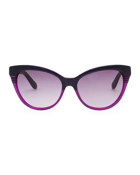 Notched-Frame Cat-Eye Sunglasses, Black/Purple
