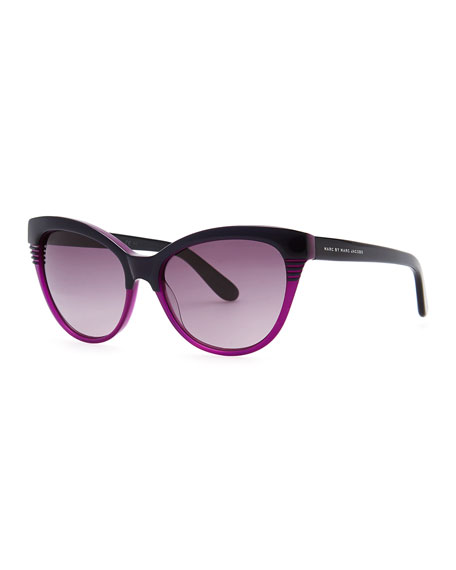 Notched-Frame Cat-Eye Sunglasses, Black/Purple