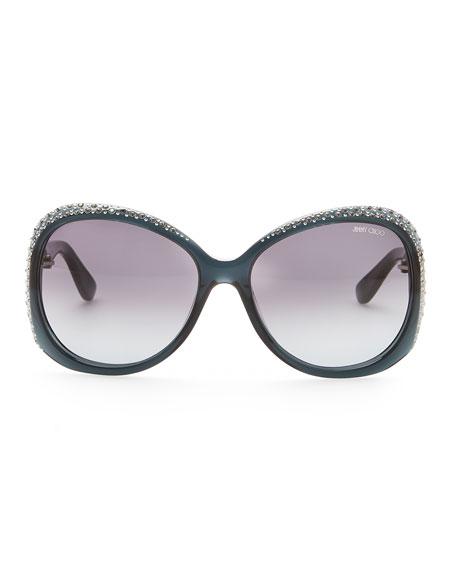 Crystal-Trimmed Sunglasses, Dark Gray