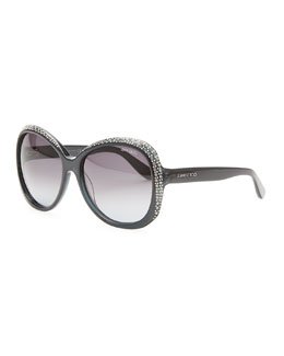 Jimmy Choo Crystal-Trimmed Sunglasses, Dark Gray