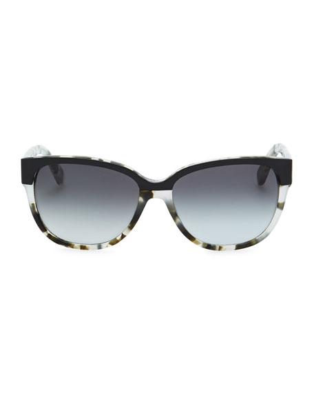 brigit tortoise-shell wayfarer sunglasses, gray