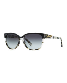 kate spade new york brigit tortoise-shell wayfarer sunglasses, gray