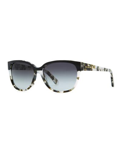 kate spade new york brigit tortoise-shell wayfarer sunglasses, gray