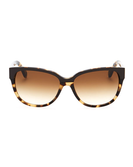 brigit tortoise-shell wayfarer sunglasses, camel