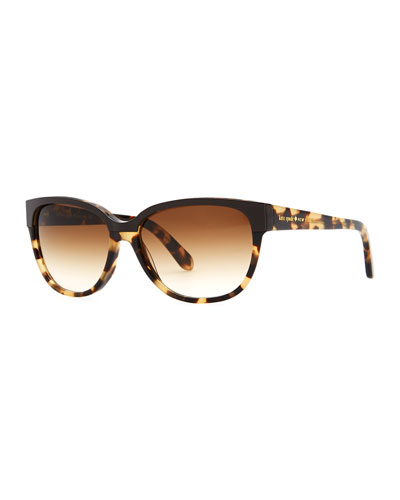 kate spade new york brigit tortoise-shell wayfarer sunglasses, camel