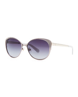 kate spade new york cassia enamel sunglasses, gray