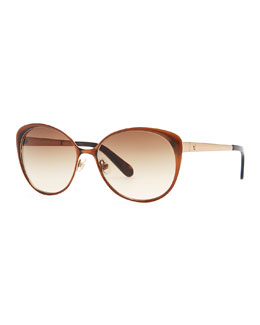 kate spade new york cassia enamel sunglasses, brown