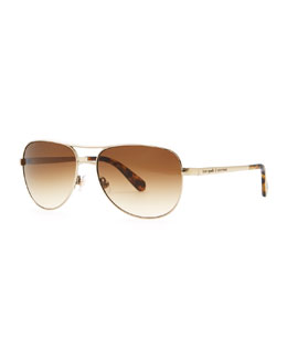 kate spade new york dusty aviator sunglasses, gold/almond