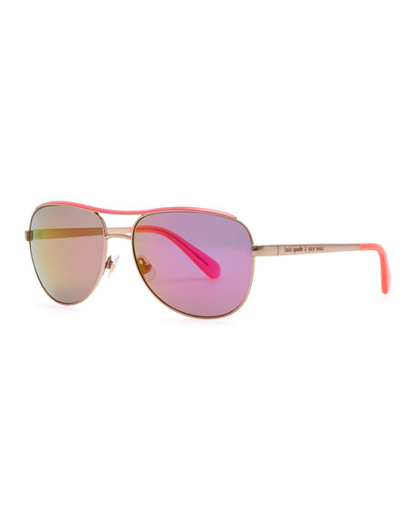 dusty aviator polarized sunglasses, rose gold/pink