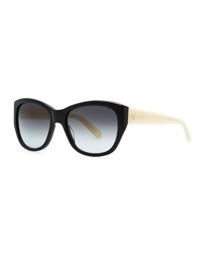 kate spade new york kia oversized polarized sunglasses, black/ivory