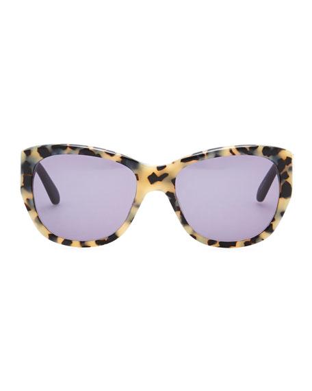 Kia Square Tortoise Sunglasses, Cream/Black