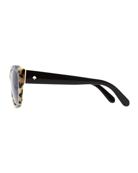 Kia Square Tortoise Sunglasses, Cream/Black