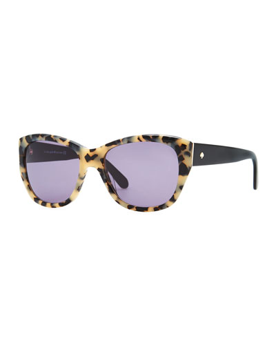 kate spade new york Kia Square Tortoise Sunglasses, Cream/Black