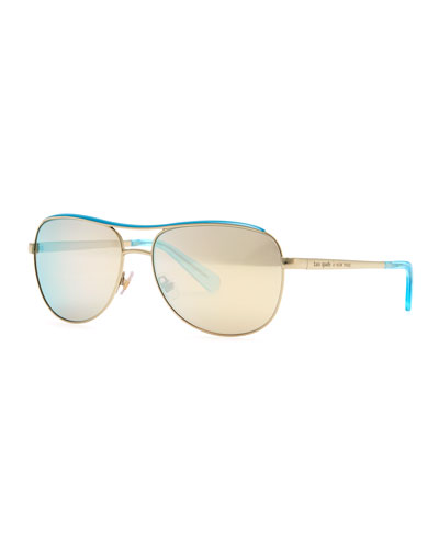 kate spade new york dusty aviator polarized sunglasses, gold/blue