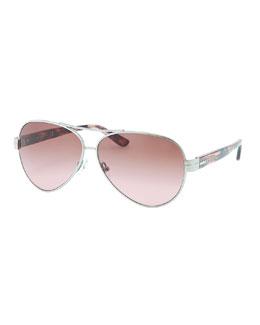 Tory Burch Modern Aviator Sunglasses, Silver/Tortoise